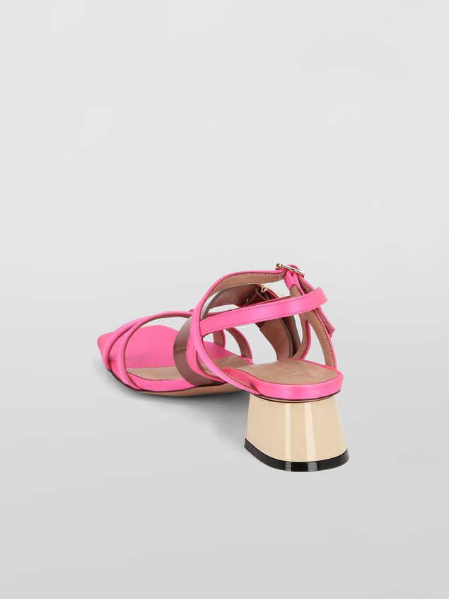 Marni Sandal in pink and brown fray-stop double satin  Woman