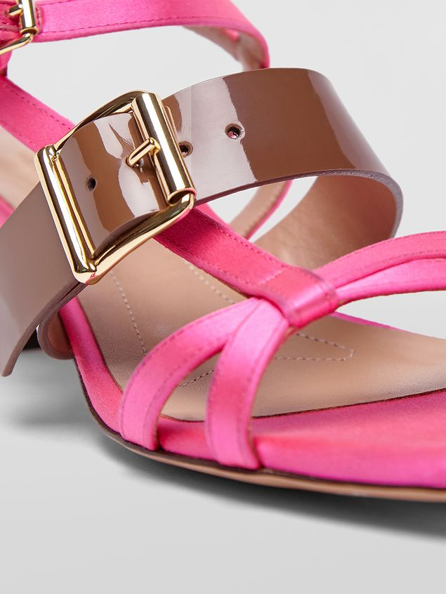 Marni Sandal in pink and brown fray-stop double satin  Woman - 5