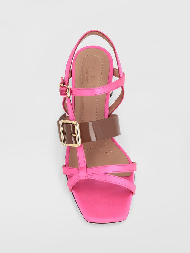 Marni Sandal in pink and brown fray-stop double satin  Woman - 4