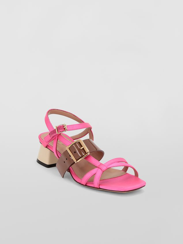 Marni Sandal in pink and brown fray-stop double satin  Woman - 2