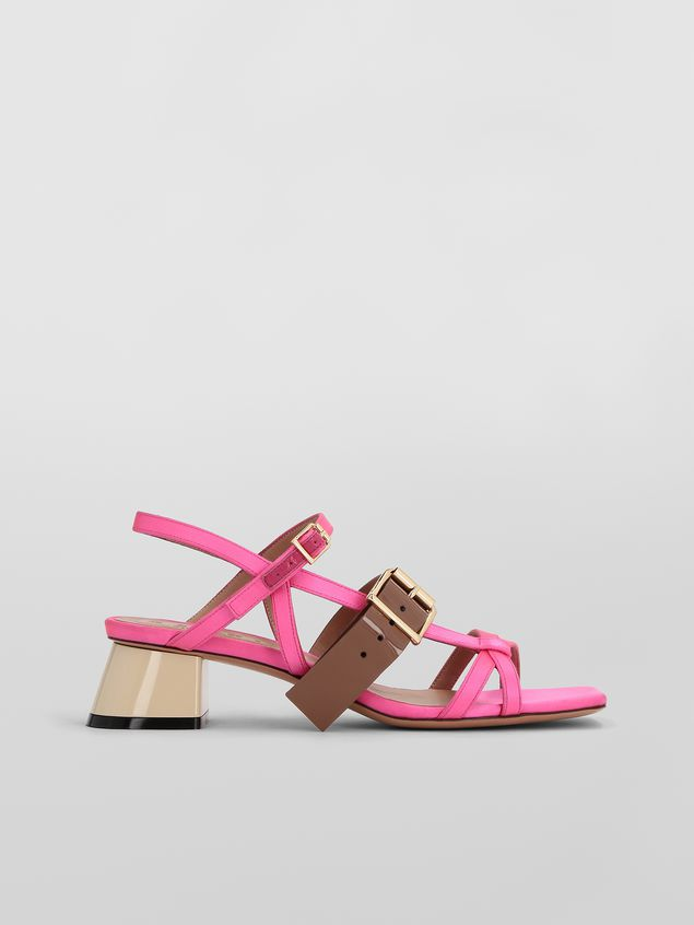 Marni Sandal in pink and brown fray-stop double satin  Woman - 1