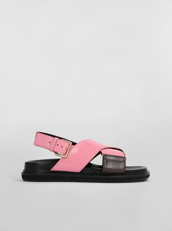 Marni Fussbett in goatskin leather pink and brown Woman f