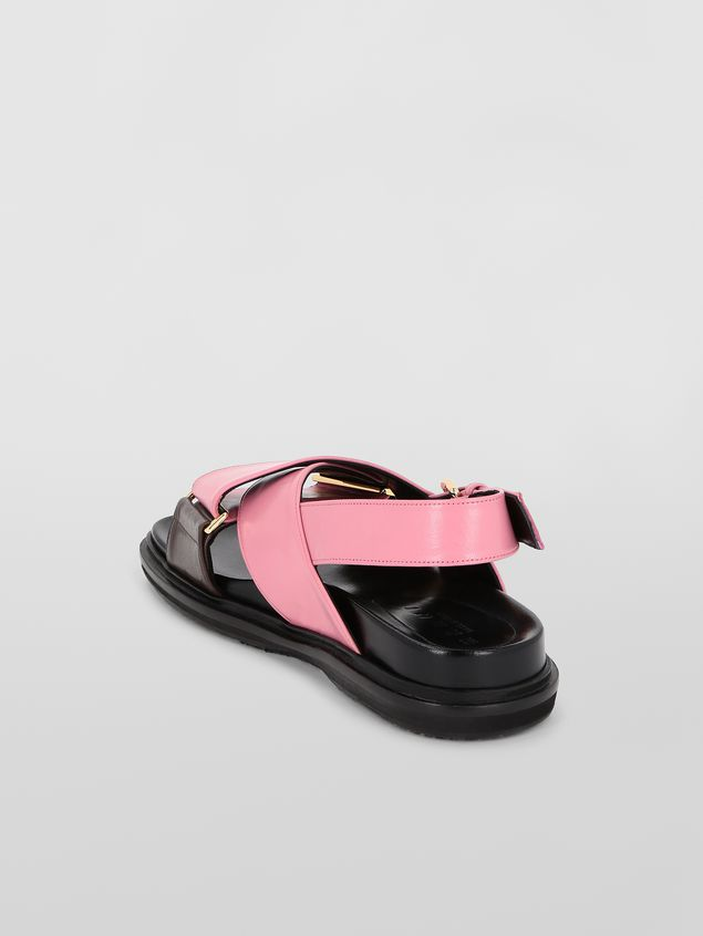 Marni Fussbett in goatskin leather pink and brown Woman