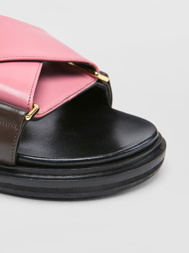Marni Fussbett in goatskin leather pink and brown Woman - 5