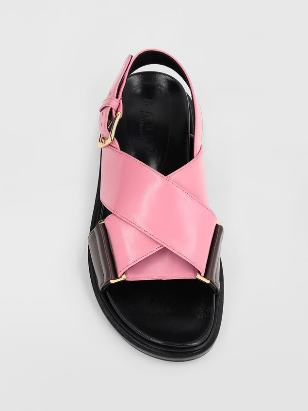 Marni Fussbett in goatskin leather pink and brown Woman - 4