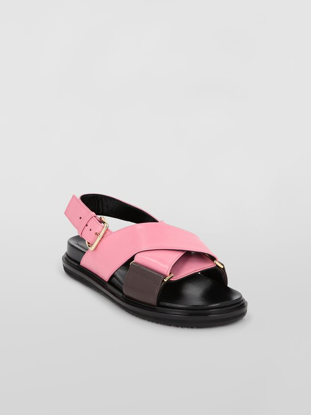 Marni Fussbett in goatskin leather pink and brown Woman - 2