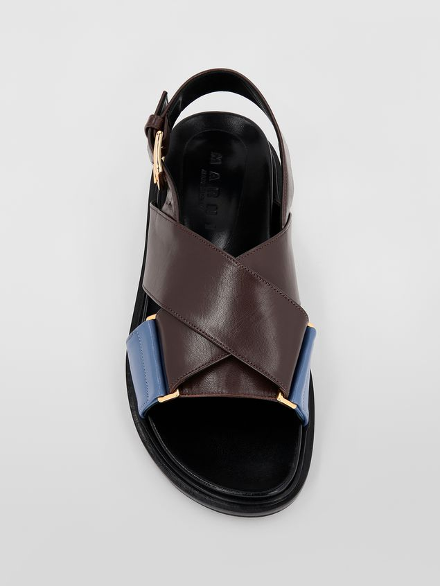 Marni Fussbett in goatskin leather brown and blue Woman - 4