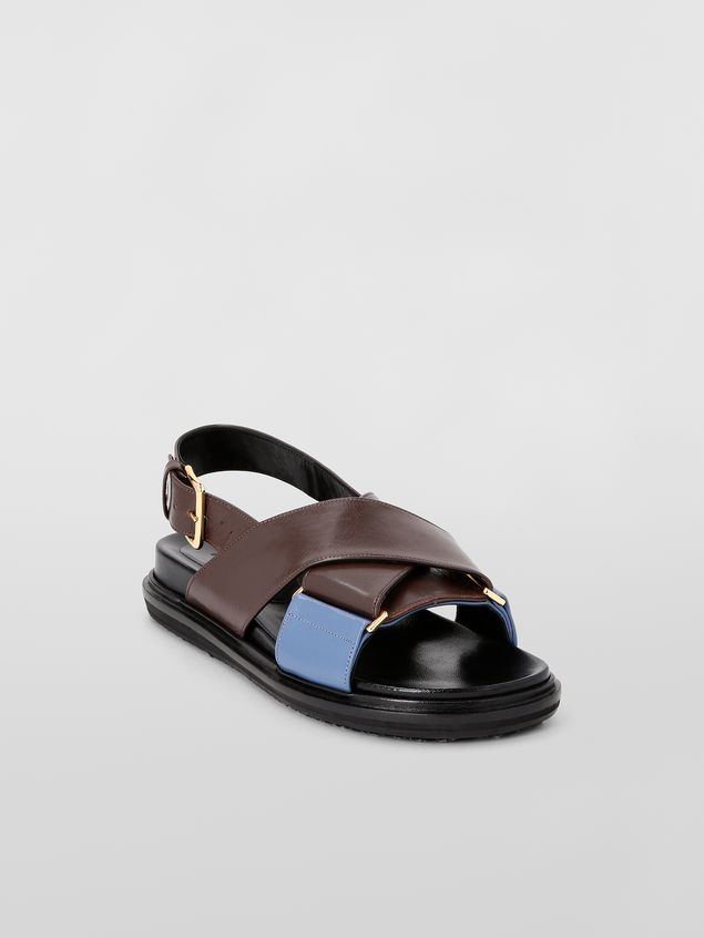 Marni Fussbett in goatskin leather brown and blue Woman - 2