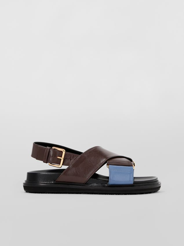 Marni Fussbett in goatskin leather brown and blue Woman - 1