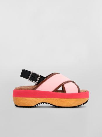 Marni Wedge in techno fabric pink Woman f