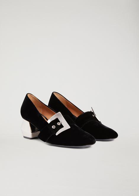 Velvet loafers with chromium-plated hexagonal heel