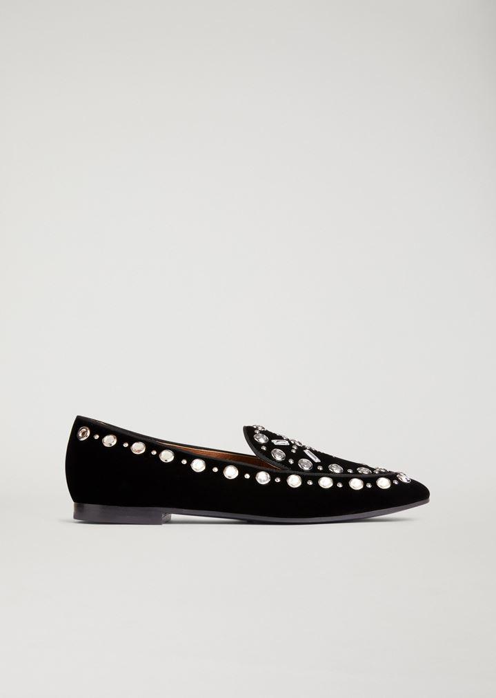 47bf7fef252f Velvet slippers with crystal detailing