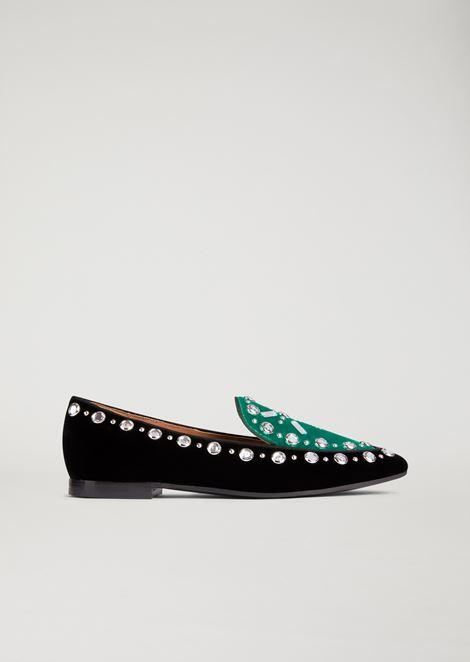 Velvet slippers with crystal detailing
