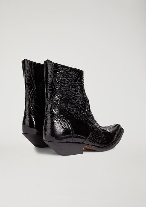 Patent naplak leather campero boot