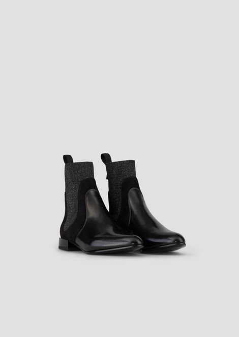 Abraded leather Beatle boots with suede and lurex details