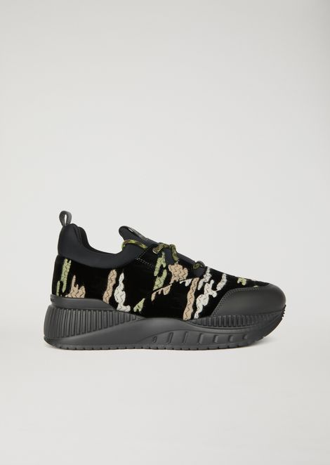 Scuba and camouflage velvet sneakers