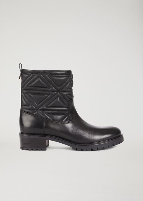 Leather boots with quilted leg