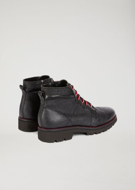 Rice-seed leather ankle boots with contrasting inserts