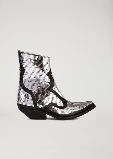 Leather campero boots with sequin embroidery