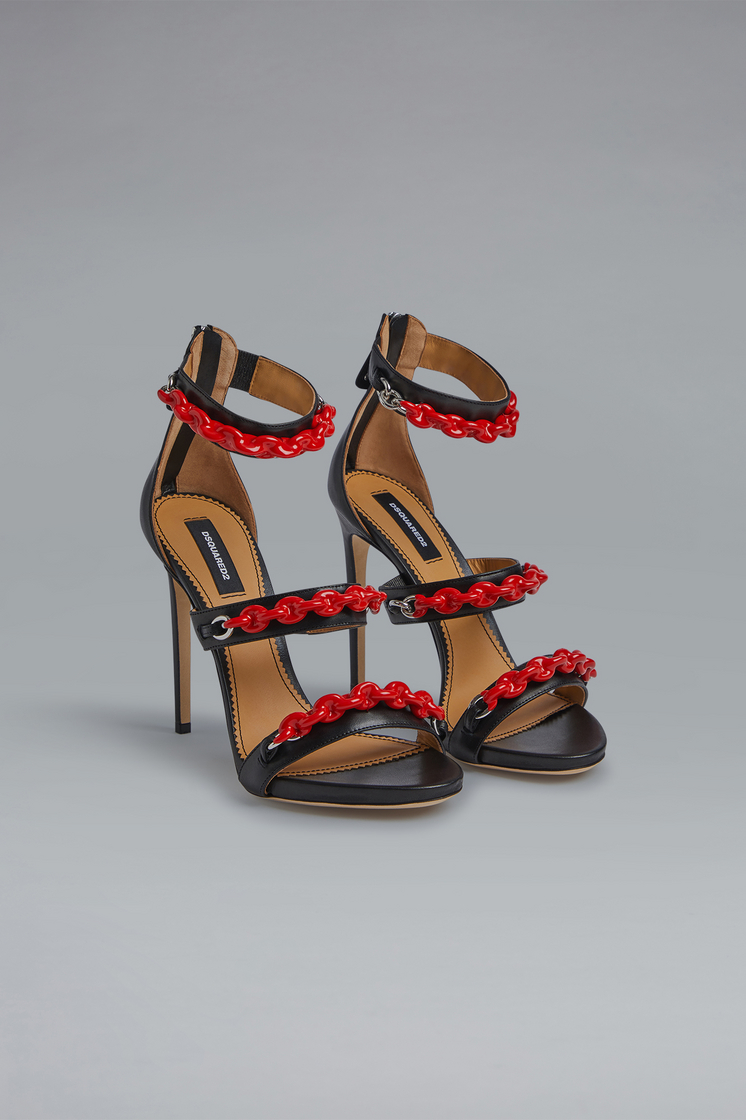 DSQUARED2 Punk Rubber Chain Sandals High-heeled sandals Woman