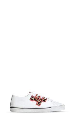 Low-top sneaker with leopard logo