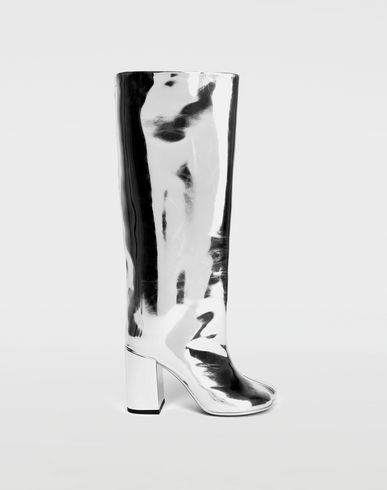 MM6 MAISON MARGIELA Boots [*** pickupInStoreShipping_info ***] Silver coated leather knee boots f