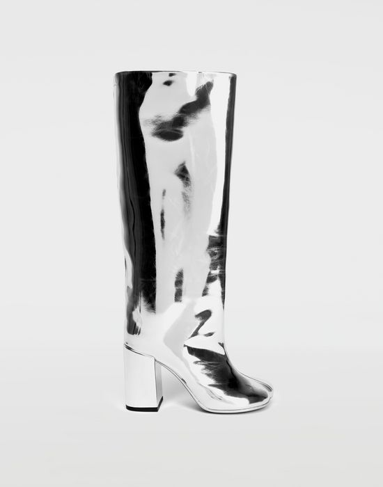 3a131ec3372 MM6 MAISON MARGIELA Silver coated leather knee boots Boots       pickupInStoreShipping info