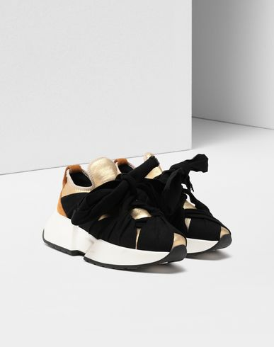 SHOES Ribbon tie leather sneakers