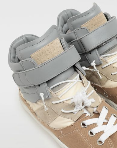 SHOES Spliced high top sneakers Beige