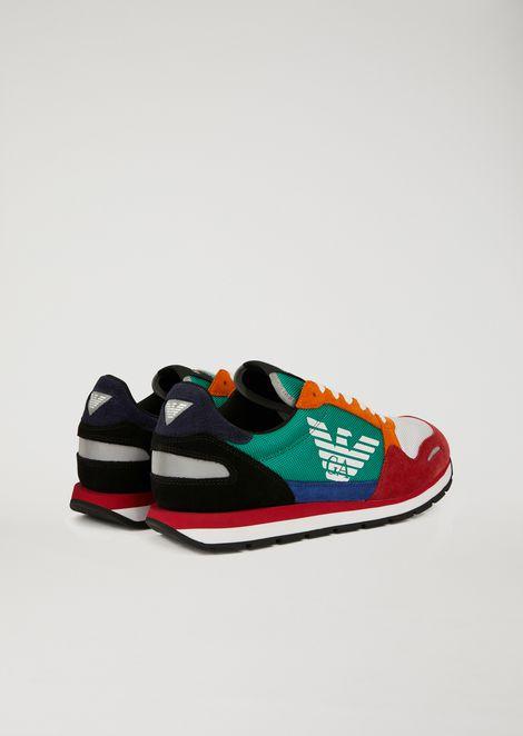 Sneakers de piel de ante con logotipo en un lateral