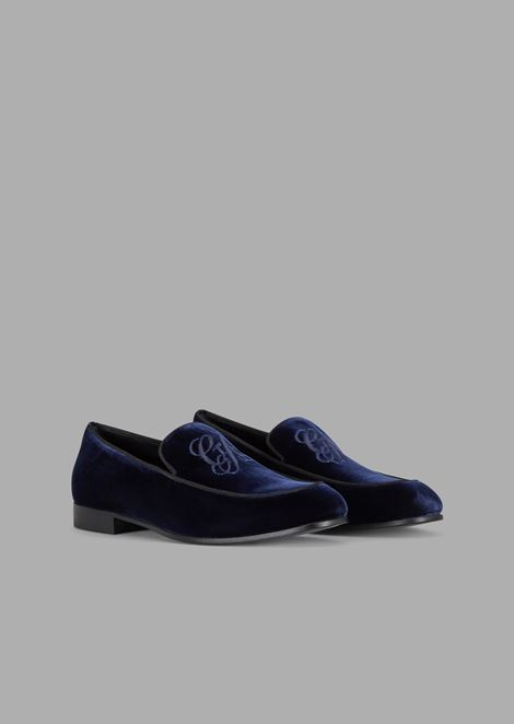 Velvet moccasins with embroidered GA logo and contrasting piping