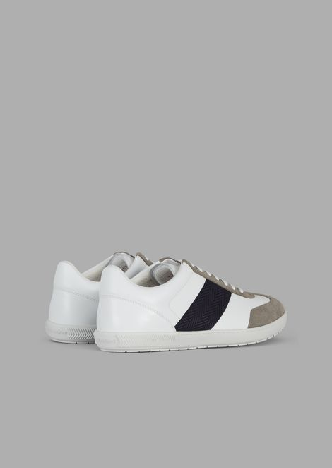 Leather sneakers with suede details and woven chevron band