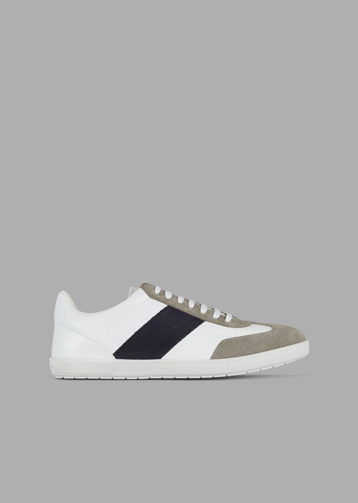 29c5ae4fe3 Leather sneakers with suede details and woven chevron band
