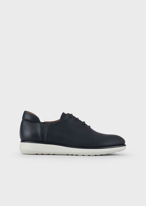 Deerskin leather lace-ups with Ercan print