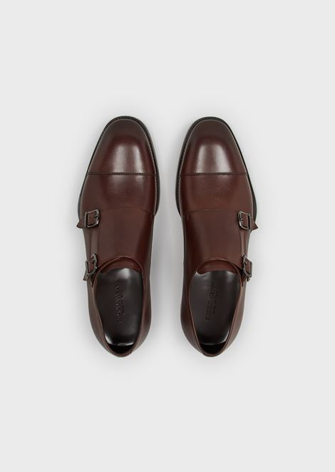 Brushed leather monkstraps with toe cap stitching