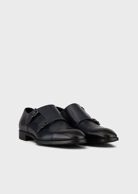 Monk straps in smooth calfskin with toe-cap stitching