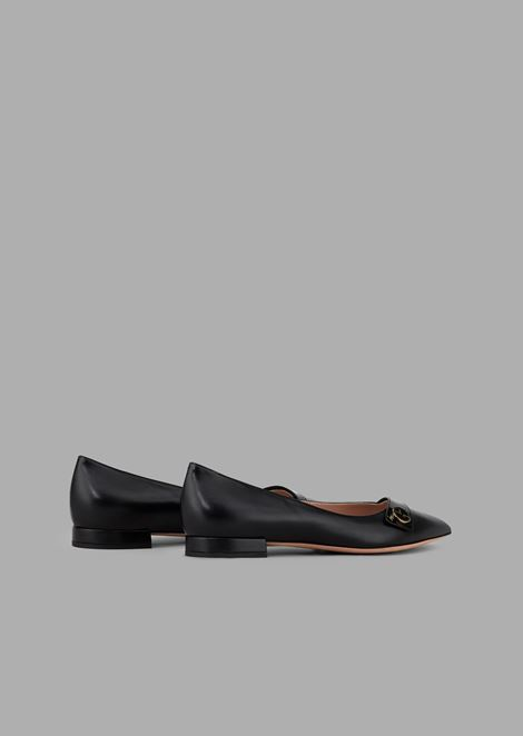 Pointed toe ballet flats with patent leather strap and logo detail