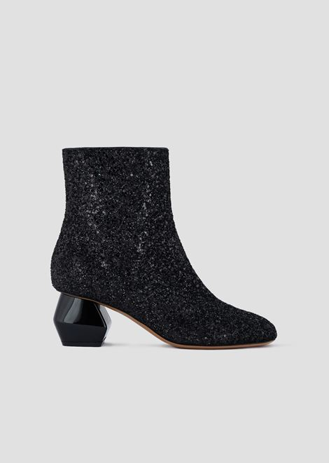 Bottines à paillettes et talon hexagonal chromé