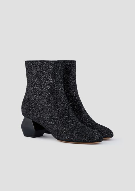 Glitter booties with chrome-plated, hexagonal heel