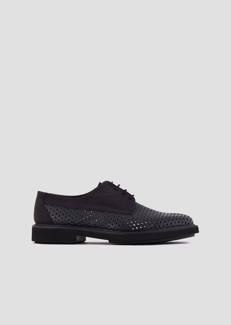Lace-up Derby shoes in perforated, boarded leather 77a166a68c9b