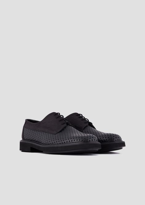 Lace-up Derby shoes in perforated, boarded leather