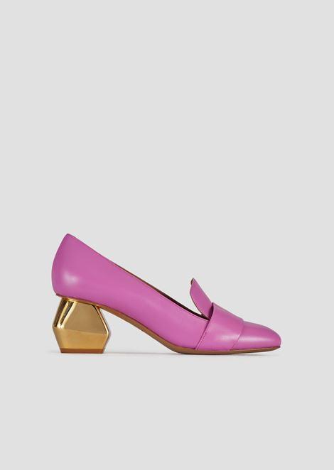镀铬六角形鞋跟纳帕皮女鞋