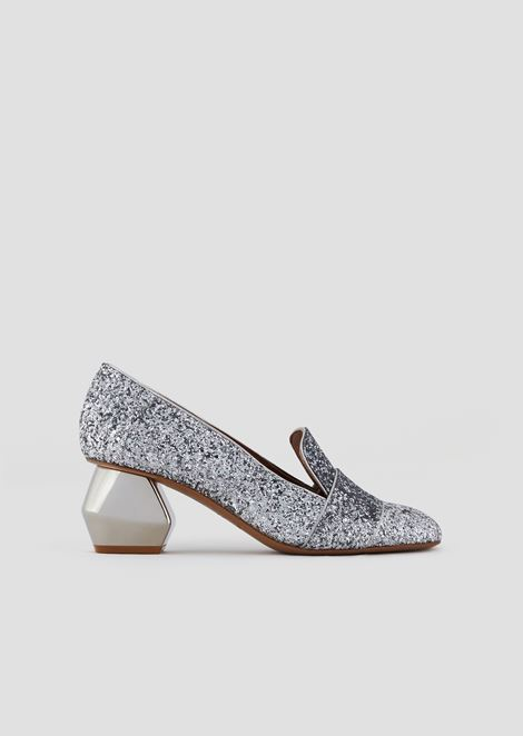 Glitter-coated nappa leather pumps with chrome-plated hexagonal heel