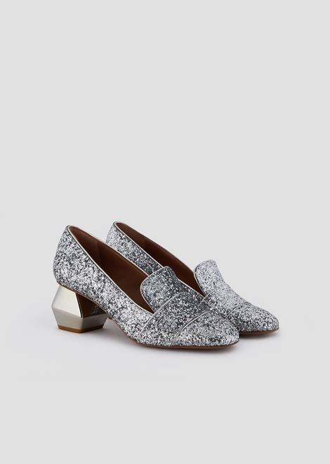 Glitter-coated nappa leather court shoes with chrome-plated hexagonal heel