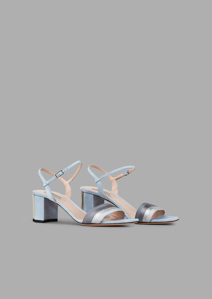 ee0bbb7e22 Suede sandals with pleated ribbon and pleated heel