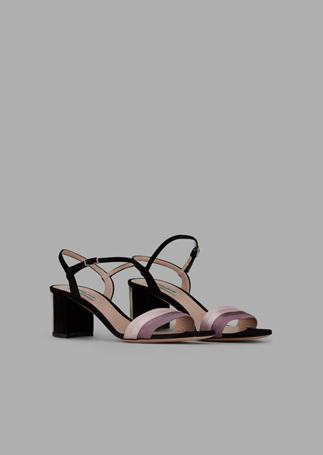 Suede sandals with pleated ribbon and pleated heel