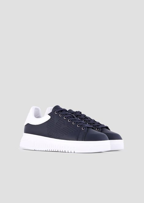 Leather sneakers with embossed logo on the side