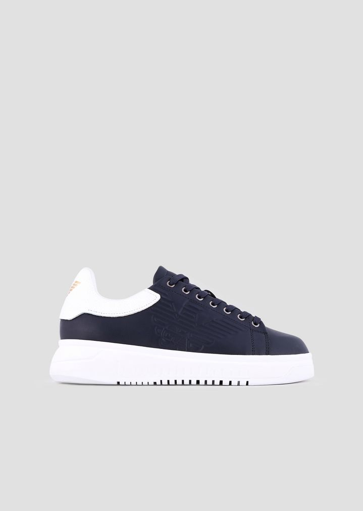 fba2164d9c Leather sneakers with embossed logo on the side