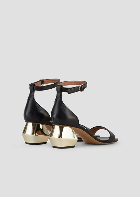 Sandals in nappa leather with ankle strap and chrome-plated hexagonal heel