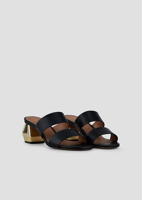 Sandals in nappa leather with two bands and chrome-plated hexagonal heel